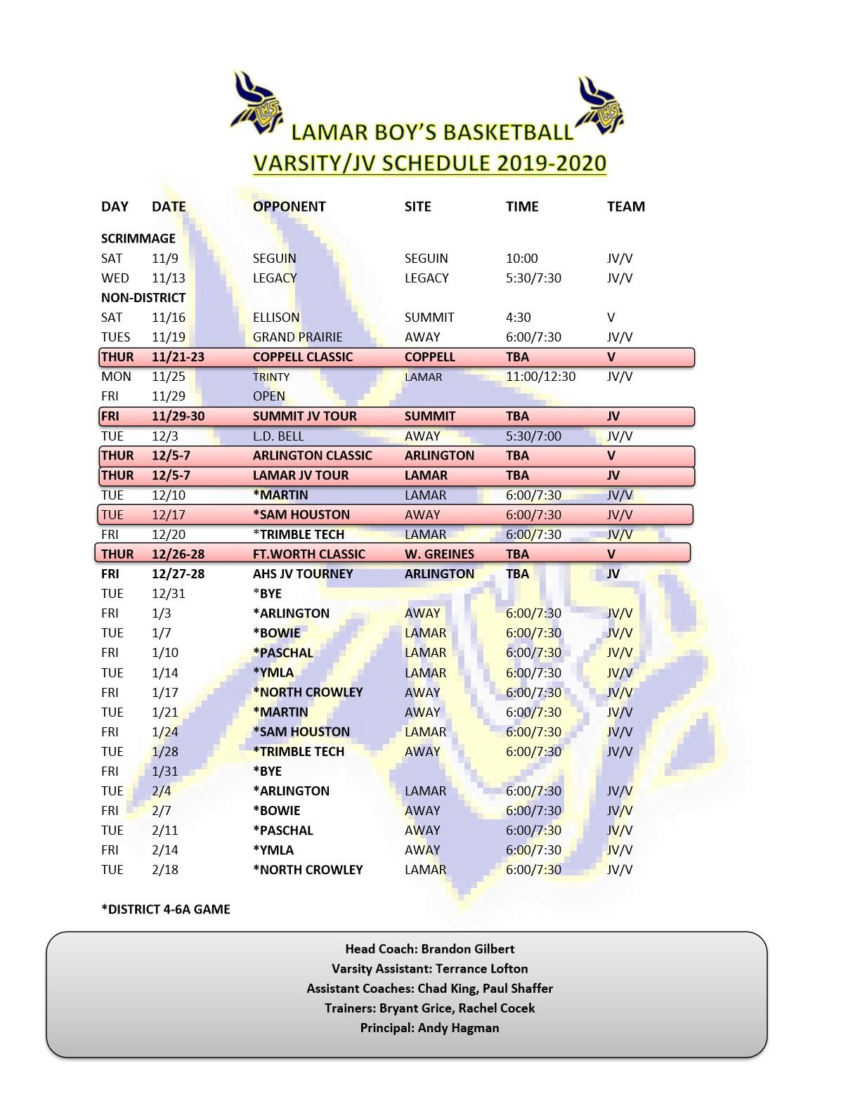 Varsity-JV Game Schedule 19-20
