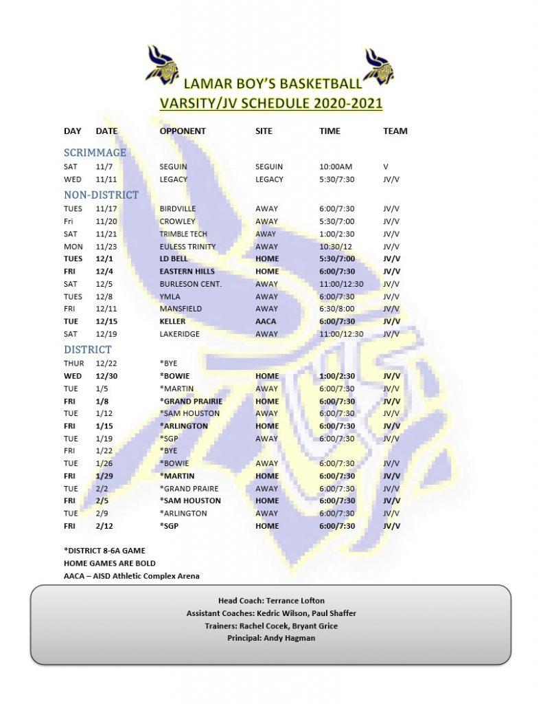 20-21 JV/Varsity Schedule